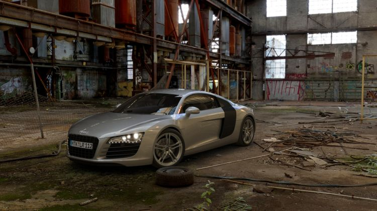 Rendering of Audi R8 in an old factory
