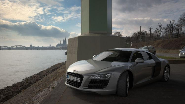 Rendering of Audi R8 next to a river