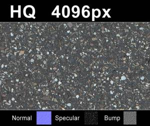 Asphalt - High resolution asphalt texture. Seamless and tileable! Color/Normal/Specular/Bump Maps included