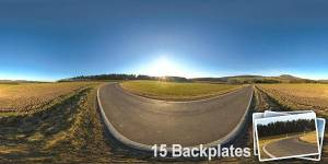 HDR 142 Rural Road Plates - Layout License - Unclipped hdr of a land road with clear sky. Including 15 backplates. Private and layout use only.