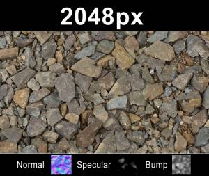 Gravel 01 (free) - Free high resolution crushed stone texture. Seamless and tileable! Color/Normal/Specular/Bump Maps included