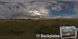 HDR 148 Cloudy Evening Sky Plates - Layout License - Hdr of rural road with cloudy sky. Including 14 backplates. Private and layout use only.