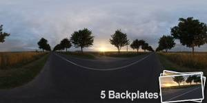 HDR 054 Road Dawn Plates - Layout License - Hdr environment on a road during dawn. Including 5 backplates. Private and layout use only.