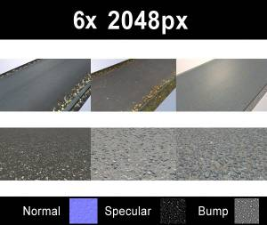 Pack 006 Roads 2048 - Save 50% with this discounted collection of six high resolution road and asphalt textures. Seamless and tileable! Color/Normal/Specular/Bump Maps
