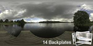 HDR 143 Cloudy Lake View Plates - Layout License - Unclipped hdr of a lake view with cloudy sky. Including 14 backplates. Private and layout use only.