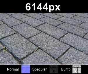 Pavement 13 - Super high resolution cobblestone pavement texture. Seamless and tileable! Color/Normal/Specular/Bump Maps included