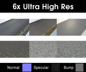 Pack 005 Roads - Save 50% with this discounted collection of six high resolution road and asphalt textures. Seamless and tileable! Color/Normal/Specular/Bump Maps