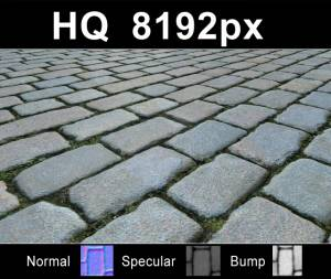 Pavement 11 - Super high resolution cobblestone pavement texture. Seamless and tileable! Color/Normal/Specular/Bump Maps included