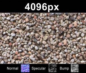 Pebbles 01 - High resolution pebble texture. Seamless and tileable! Color/Normal/Specular/Bump Maps included