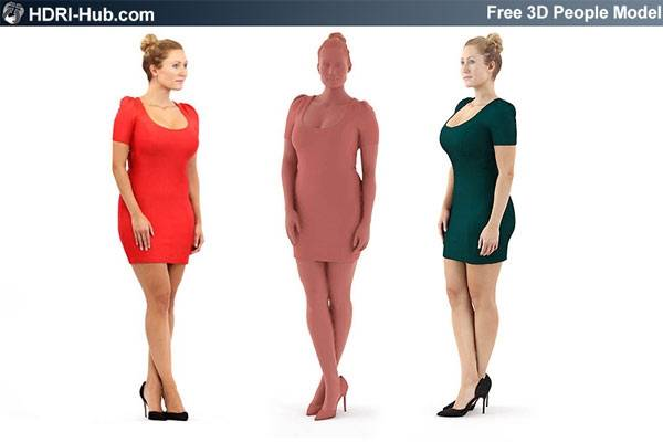 Free Casual 3D People - Rosy - Free high res female 3d people. Already posed. For 3Ds Max, C4D, Obj and Sketchup