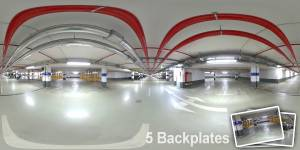 HDR 039 Garage Plates - Layout License - Hdr of a parking deck. Including 5 backplates. Private and layout use only.