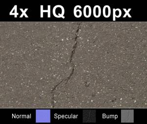 4x Asphalt - Four high resolution asphalt textures. Seamless and tileable! Color/Normal/Specular/Bump Maps included