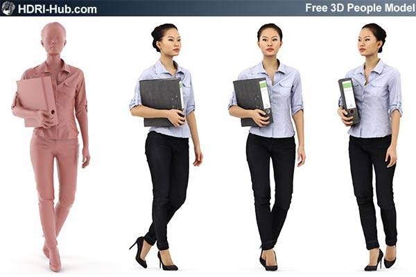 Free Business 3D People - Mei - Free high res female business 3d people. Already posed. For 3Ds Max, C4D, Obj and Sketchup