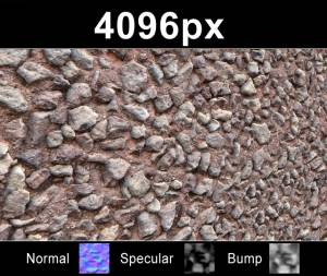 Close up of gravel wall texture - High resolution crushed stone wall texture. Seamless and tileable! Color/Normal/Specular/Bump Maps included