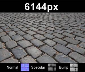 Pavement 12 - Super high resolution cobblestone pavement texture. Seamless and tileable! Color/Normal/Specular/Bump Maps included