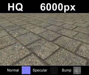 Pavement 5 - Super high resolution cobblestone pavement texture. Seamless and tileable! Color/Normal/Specular/Bump Maps included