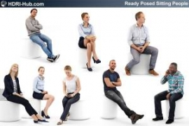 3D People Sitting People 01 - Collection of 8 high-detailed 3D models of scanned people in sitting position. 3Ds Max, C4D, Sketchup