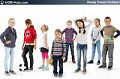 3D People Children 01 - Collection of 8 high-detailed 3D models of scanned children. Already posed. 3Ds Max, C4D, Obj
